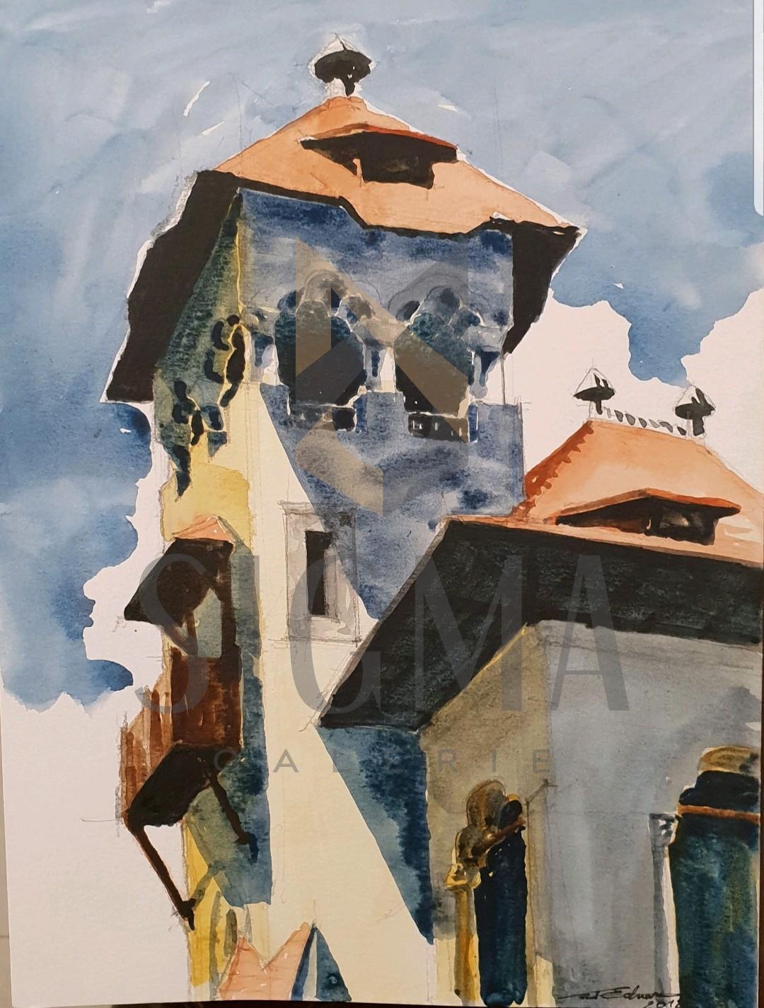 Tablou, Eduard G. Pascu, Vila Mina Minovici, Bucuresti, acuarela, dim: 30 x 21 cm