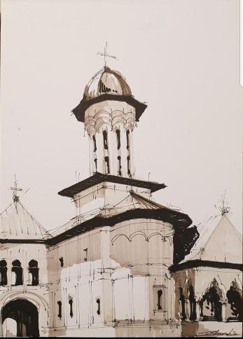 Tablou, Eduard G. Pascu, Catedrala Patriarhala Romana, Bucuresti, acuarela 30x21 cm