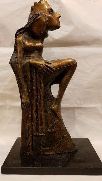 "SCULPTURA, ION IANCUT, "" FRUMOASA SI REGELE "" , bronz"