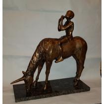 """SCULPTURA, ION IANCUT, """" FLAUTUL FERMECAT """" , bronz"""