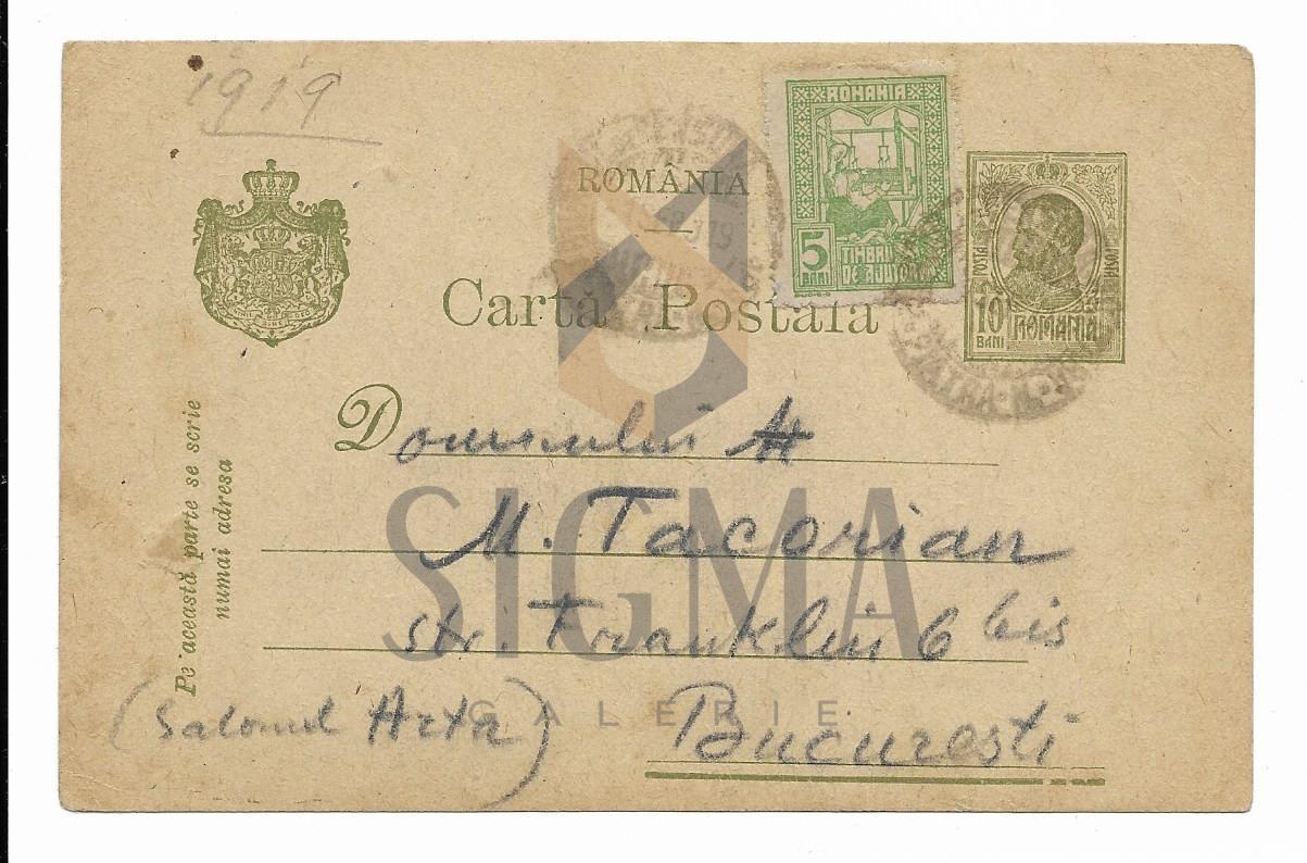 SCRISOARE / CARTE POSTALA,PICTORUL NICOLAE VERMONT CATRE M. TACORIAN, 1919