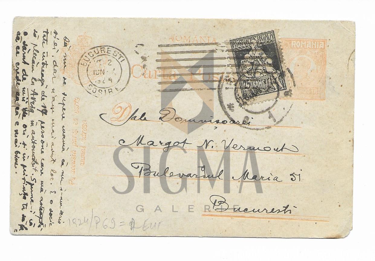 SCRISOARE / CARTE POSTALA, PICTORUL NICOLAE VERMONT CATRE FIICA LUI, MARGOT , 1924