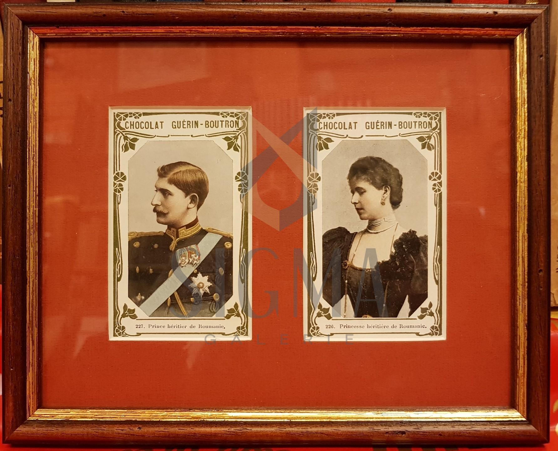 "REGELE FERDINAND SI REGINA MARIA, 2 CROMOLITOGRAFII, RECLAME LA "" CHOCOLAT GUERIN - BOUTRON"" , 1900"
