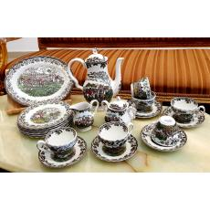Serviciu de masa, din portelan, compus din 22 piese:  un platou, 6 farfurii desert, ceainic, latiera, zaharnita si 6 cescute, Made in England
