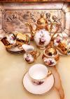 Serviciu  cafea, din portelan, decorat cu aur coloidal, pictat manual, Bavaria