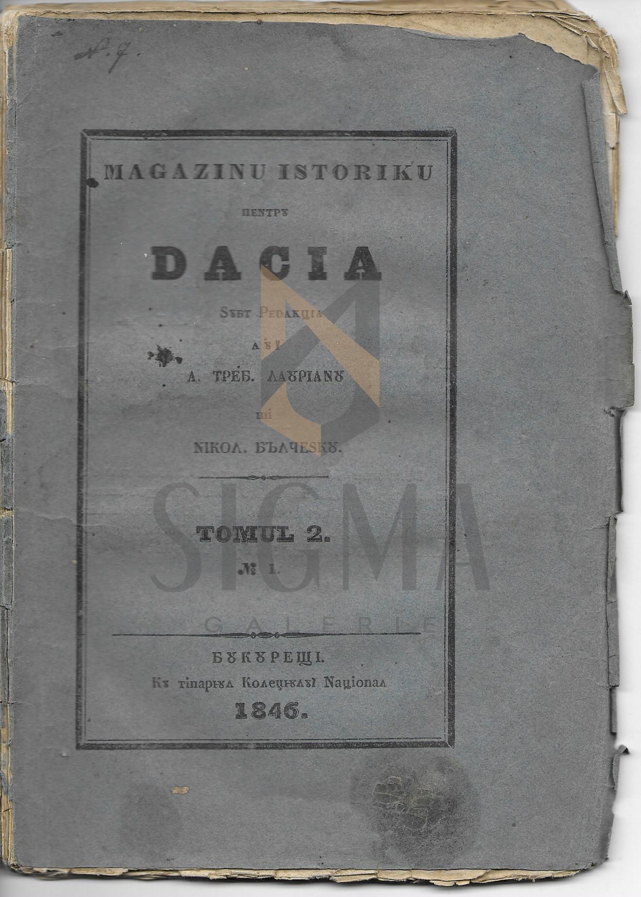 A. TREBONIU LAURIANU  si  NICOLAE BALCESCU ( Redactori )