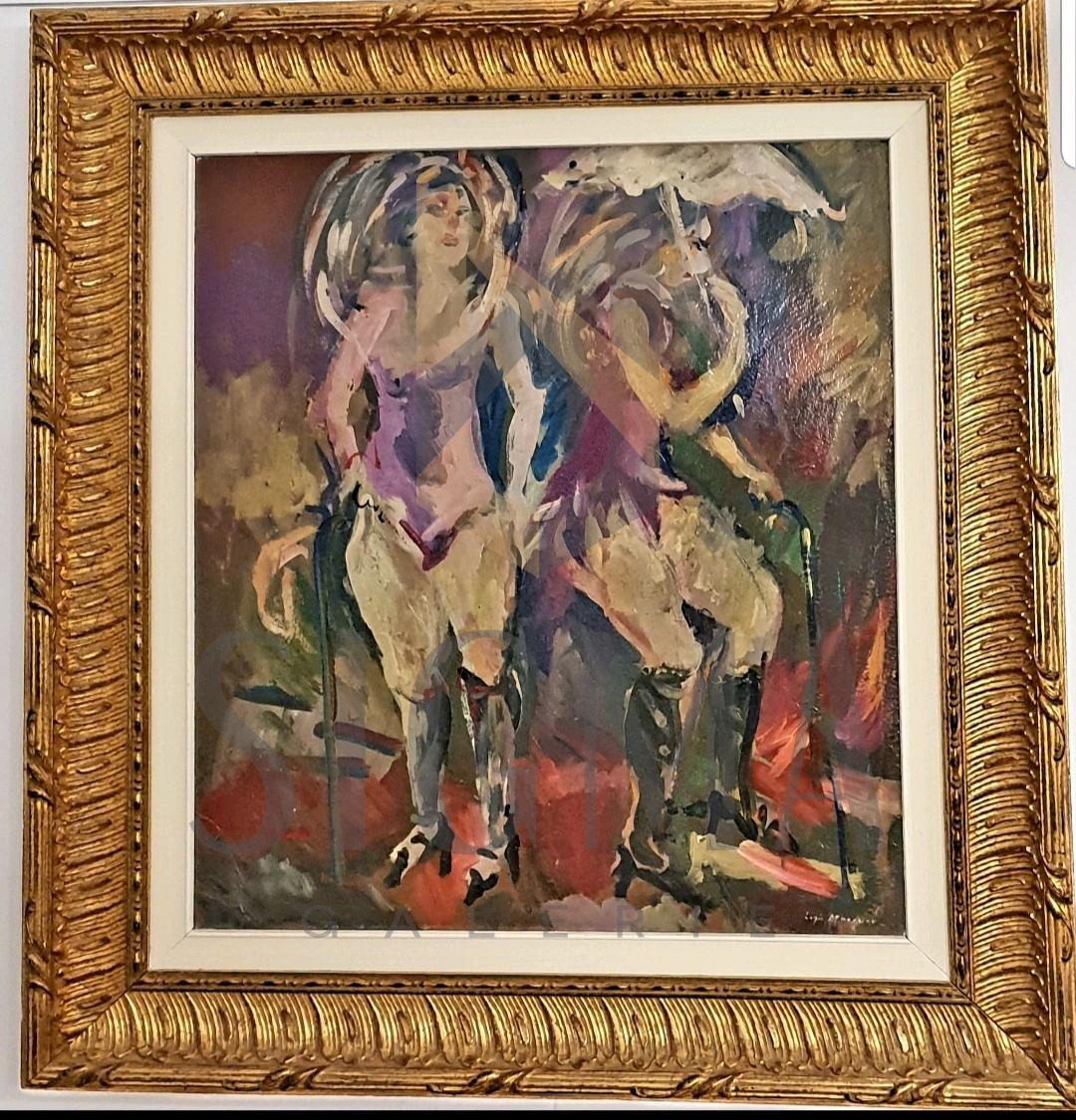 Tablou, Ligia Macovei, La cabaret, ulei pe carton, dim: 64,5 x 55 cm, semnat dreapta jos cu alb