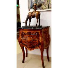 Servanta,  ROCOCO, bogat decorata, cu intarsii - motive vegetale - si bronz. Blat din marmura.