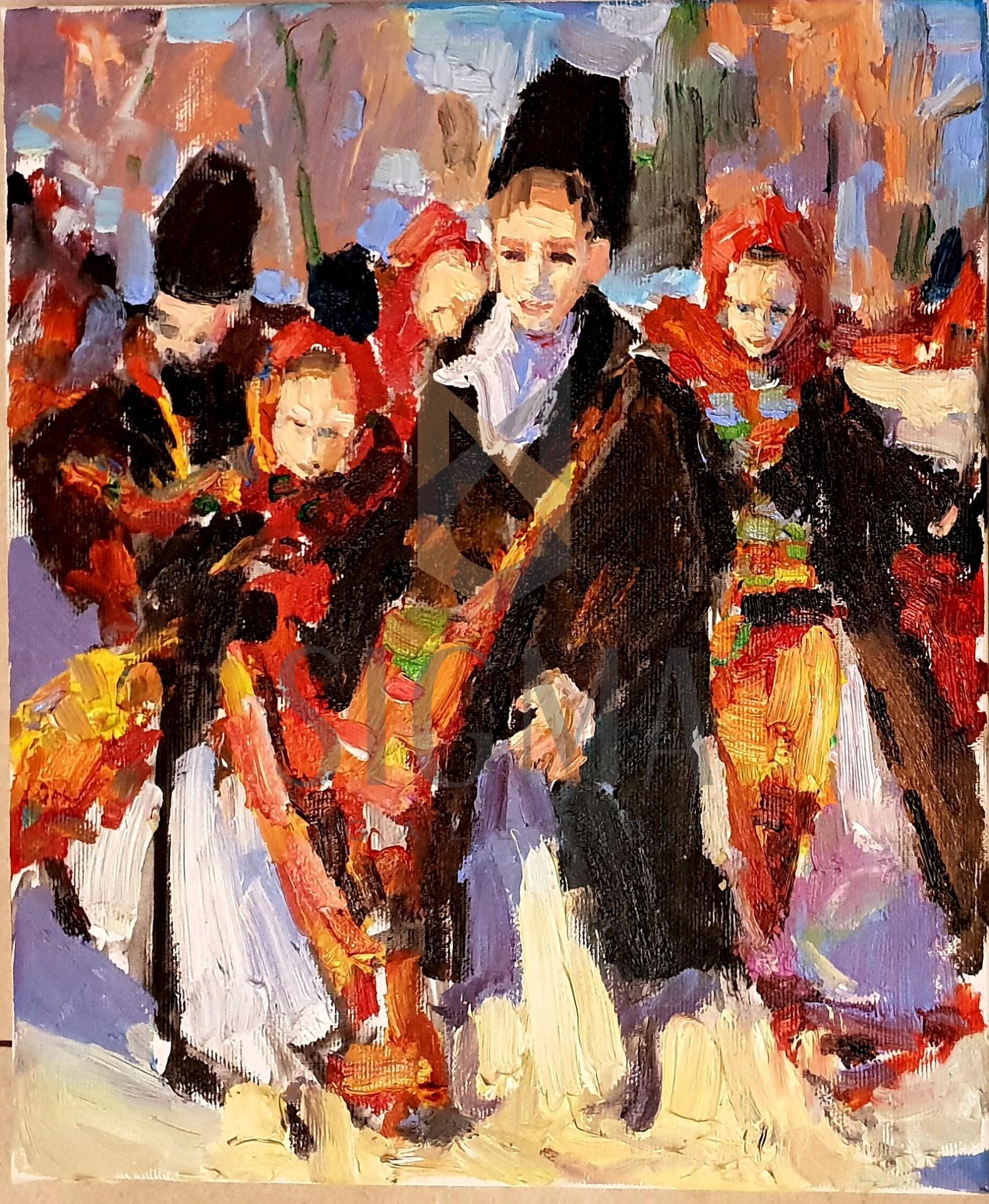 Tablou, Mariia Yughina, Traditii - Colindători, ulei pe pânză, 30 x 25 cm