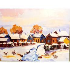 Tablou, - Peisaj de iarna - ulei pe carton, 14 x 18 cm, semnate in monograma V/A