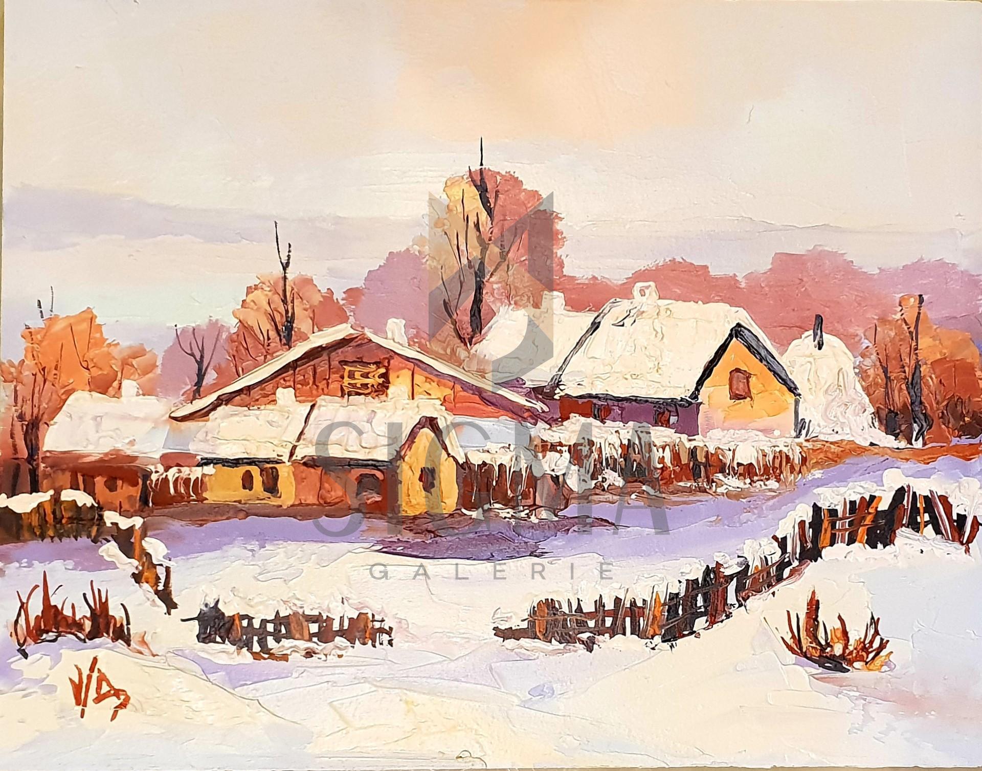 Tablou, - Peisaj de iarna - ulei pe carton,  18 x 23 cm, semnate in monograma V/A
