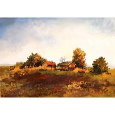 Tablou, - Peisaj de toamna - ulei pe carton,  21 x 30 cm, semnate in monograma V/A