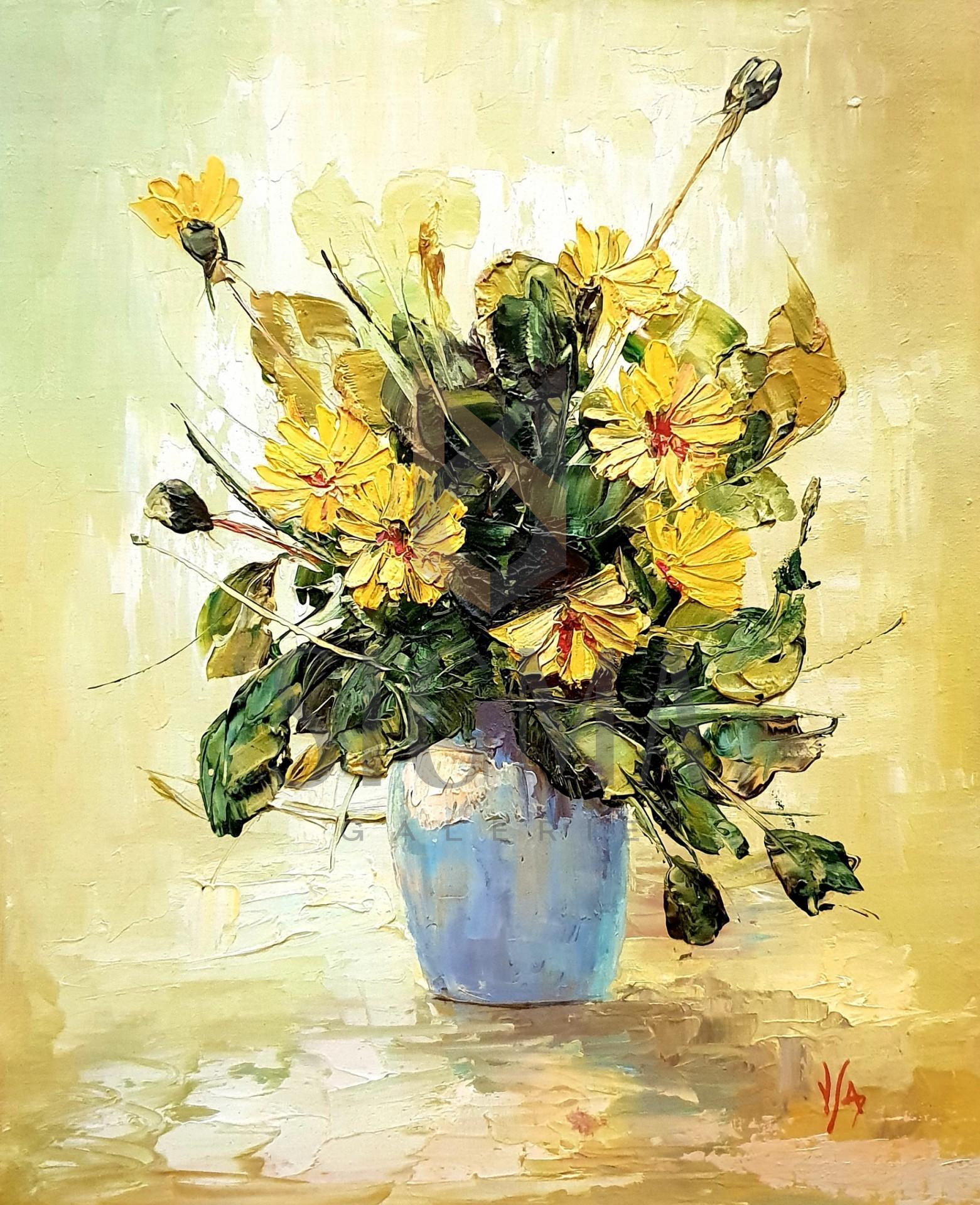 Tablou, - Flori - ulei pe carton,  36 x 29 cm, semnate in monograma V/A