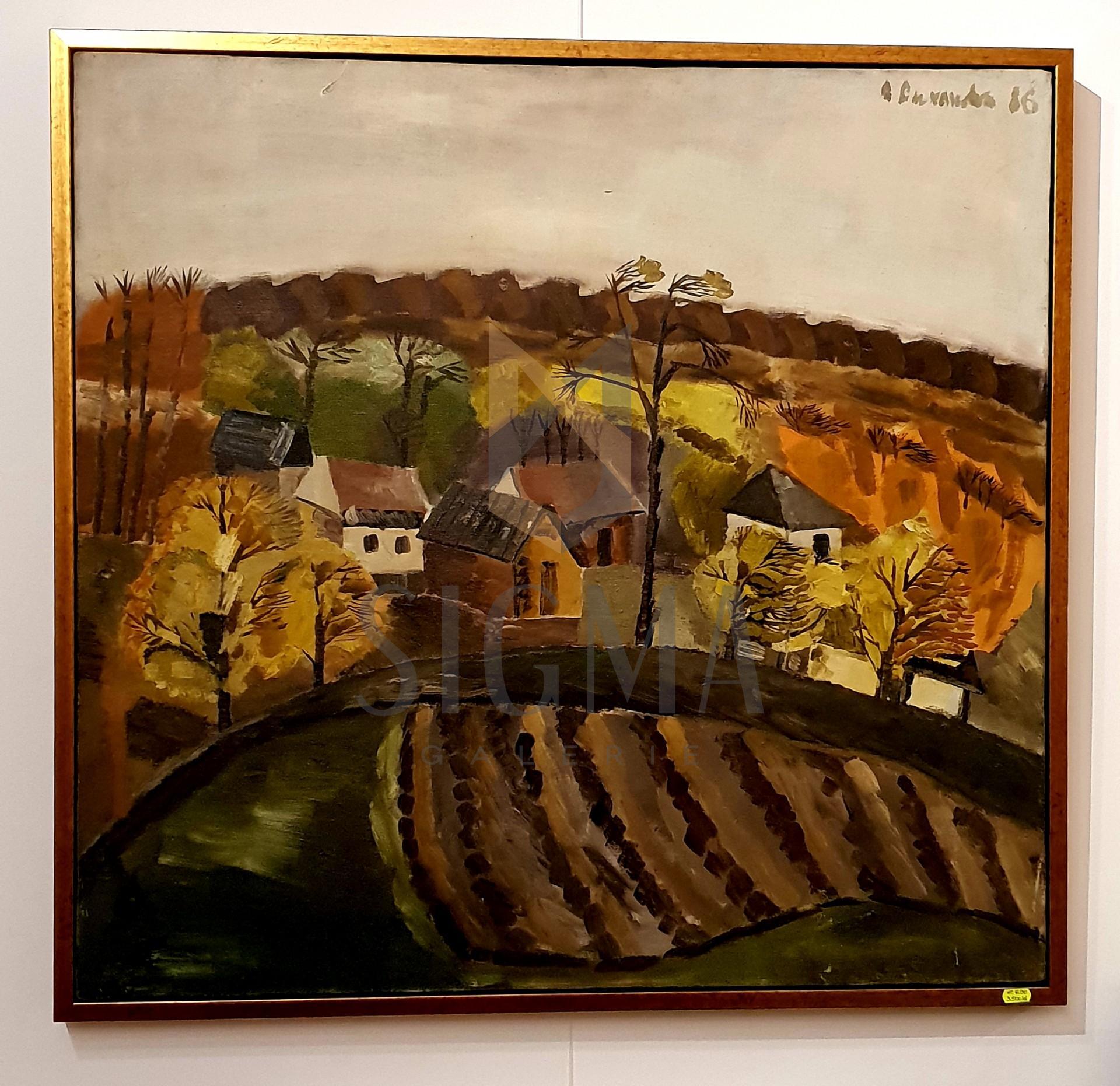 Tablou, Ana Ruxandra Ilfoveanu - Peisaj de toamna la Radesti- ulei pe panza,   81,5 x 85  cm, semnat dreapta sus, datat 1986