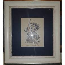 """TABLOU, GEORGE BACOVIA ,  """" Pictorul Theodor Pallady """" , tus/acuarela"""