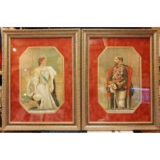 """Tablouri  """" REGELE FERNINAND """" si """" REGINA MARIA """" Mostenitori ai Tronului Romaniei,( executate de Costin Petrescu )  Cromolitografii, 1903"""