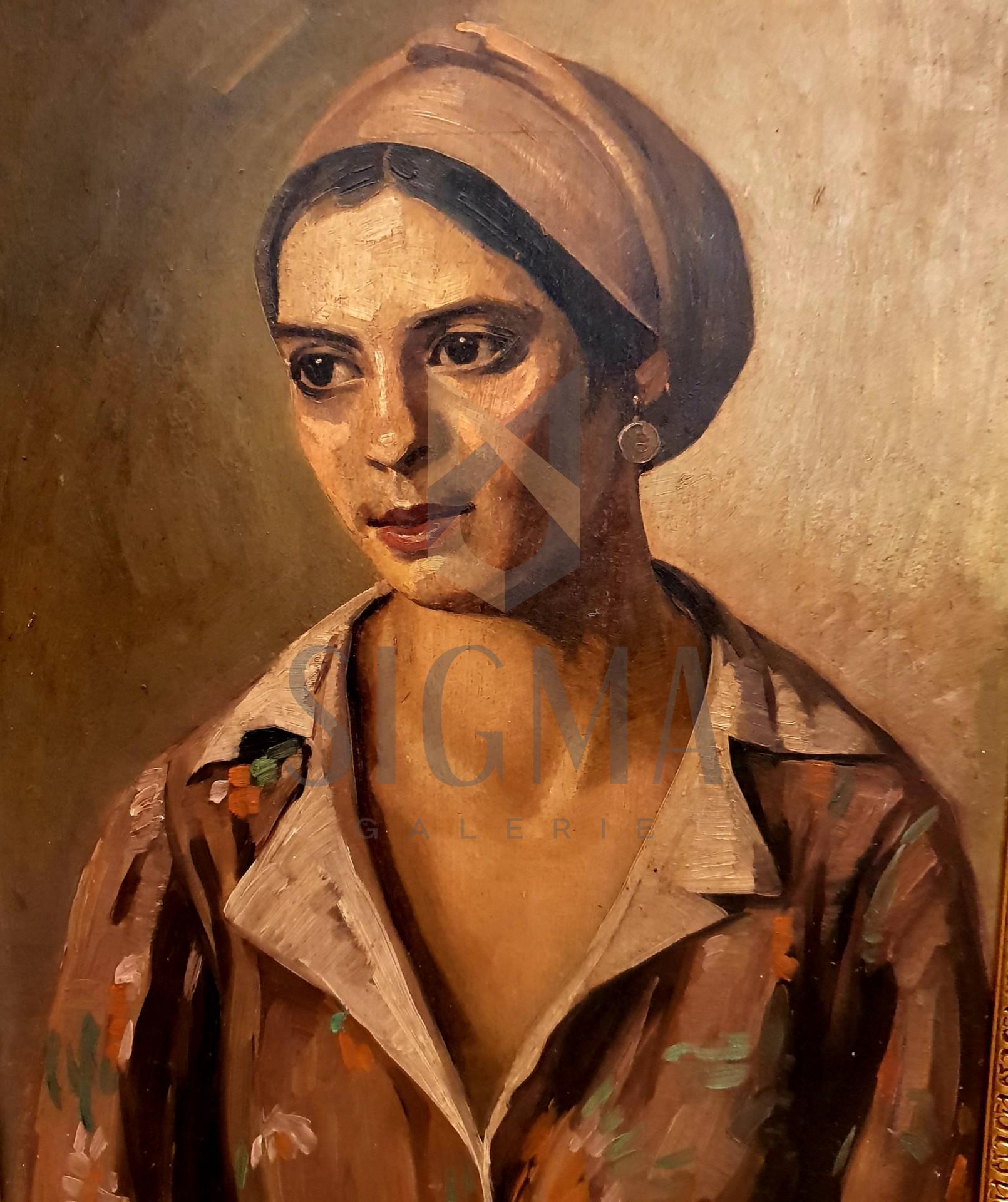 """Tablou, Petre Bulgaras (1884-1939) """"Portret de femeie"""", datat 1937, ulei pe carton, 70 x 50 cm, semnat si datat dreapta jos, cu ocru."""