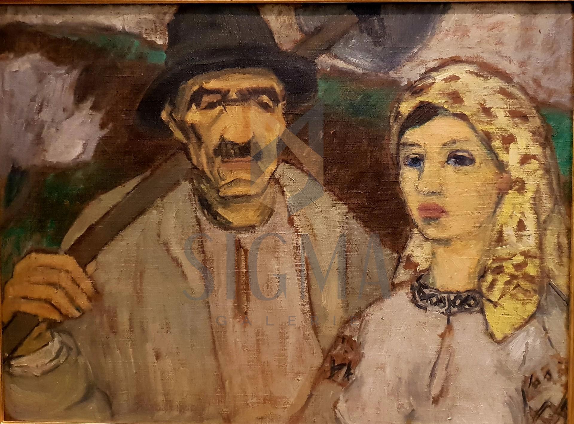 "Tablou, Traian Bradean (1927-2013) ""Tarani"" datat 1967,  ulei pe panza, 60 x 80 cm"
