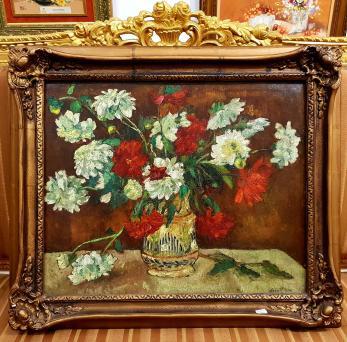 """Tablou, Laura Cocea (1893-1985), """"Crizanteme"""" ulei pe carton, dimensiuni: 49,5 x 60,5 cm"""