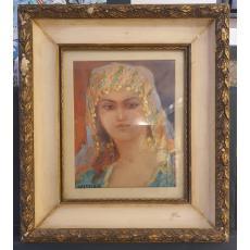 "Tablou, Dimitrie Florian - Dobosariu (1899-1979) ""Portret"", ulei / carton"