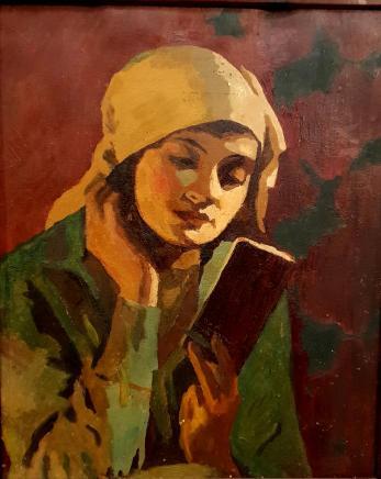 """Tablou, atribuit lui  Ipolit Strambu (1871-1934) """"Fata cu carte"""", ulei pe carton, 60 x 49 cm"""