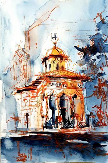 Tablou, Raluca Morariu, Biserica Stavropoleus, acuarela si tus pe hartie , Dimensiune: 24 x 16  cm