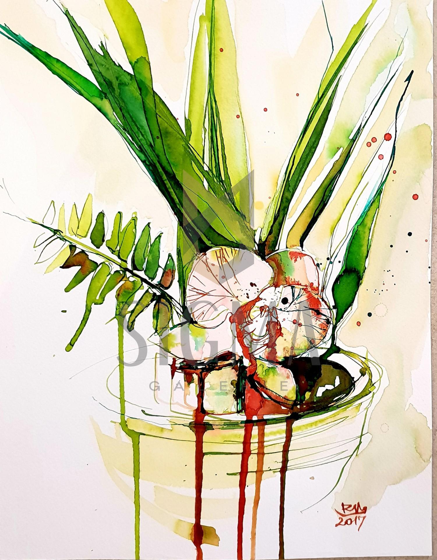 Tablou, Flori - Orhidee, autor: Raluca Morariu, tus si acuarela pe hartie Canson, dimensiuni: 32 x 25 cm