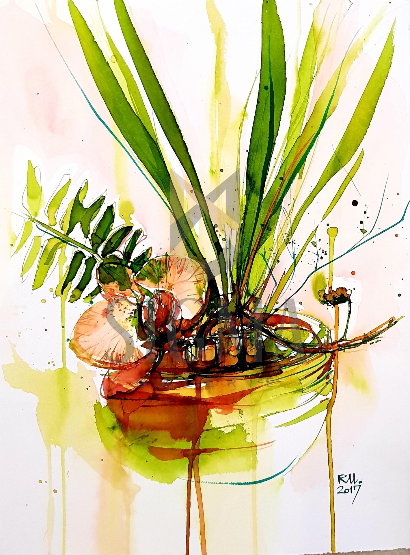 Tablou, Flori - Orhidee, autor: Raluca Morariu, tus si acuarela pe hartie Canson, dimensiuni: 38 x 28 cm