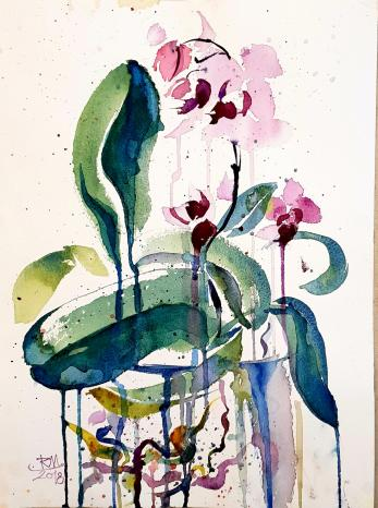 Tablou, Flori - Orhidee, lucrare pictata fata-verso (doua lucrari),  Autor: Raluca Morariu, Tehnica: tus si acuarela pe hartie Canson, Dimensiuni: 36 x 27 cm