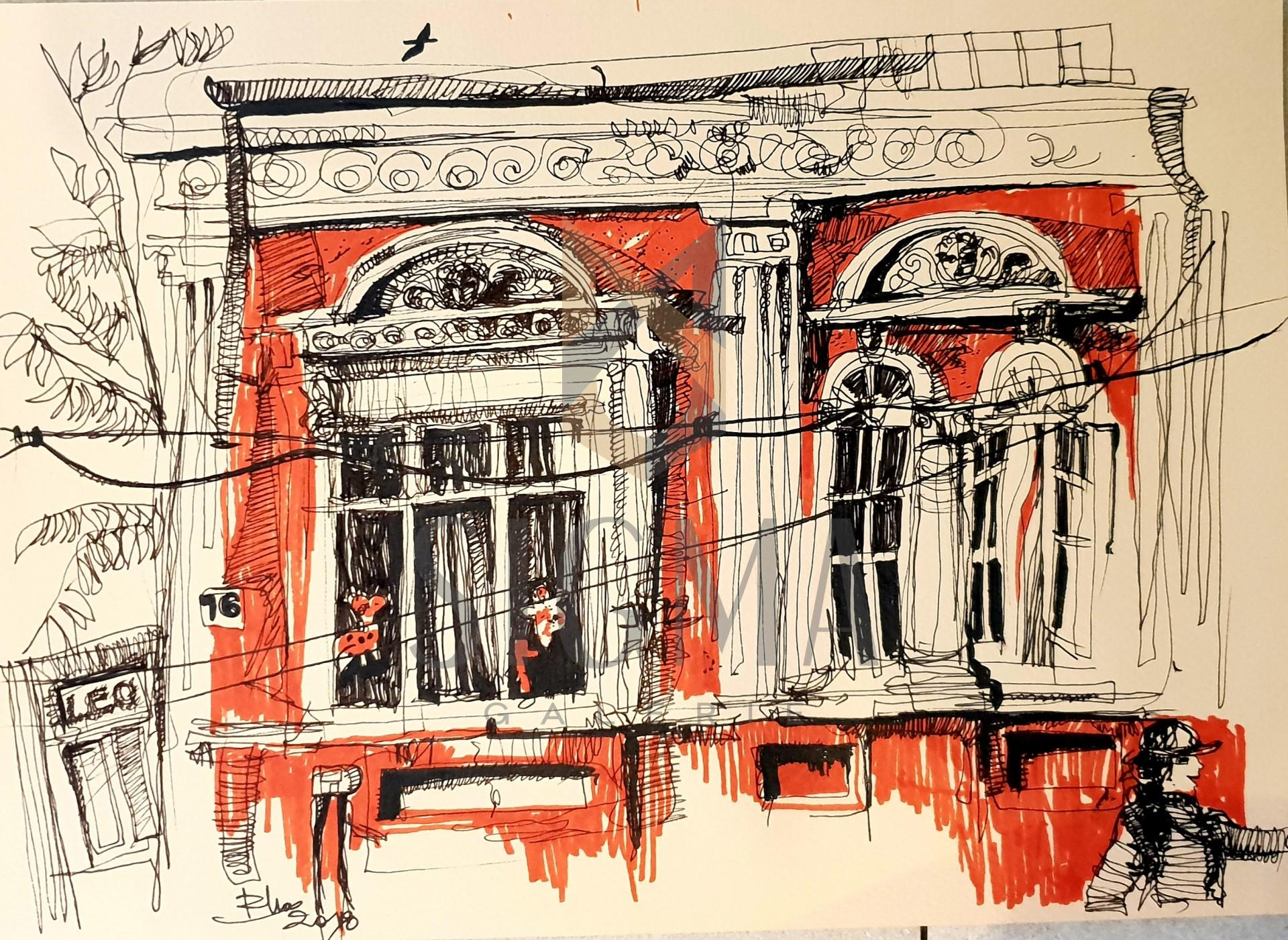 Tablou, Casa pe strada Mircea Vulcanescu,   Autor: Raluca Morariu, Tehnica: tus pe hartie Canson, Dimensiuni: 30 x 21 cm