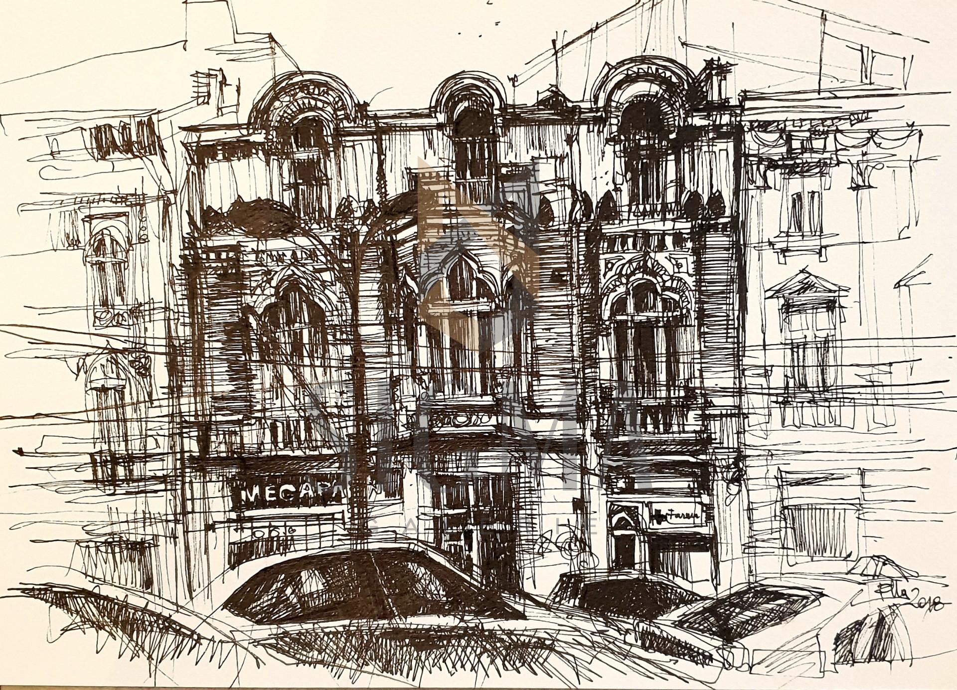 Tablou, Casa arhitectului Ion N. Socolescu - B-dul Carol,   Autor: Raluca Morariu, Tehnica: tus pe hartie Canson, Dimensiuni: 30 x 21 cm