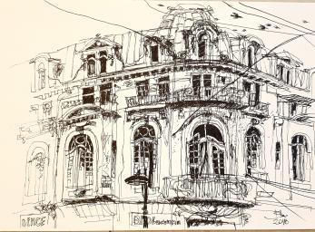 Tablou, Casa pe strada Mendeleev,   Autor: Raluca Morariu, Tehnica: tus pe hartie Canson, Dimensiuni: 30 x 21 cm