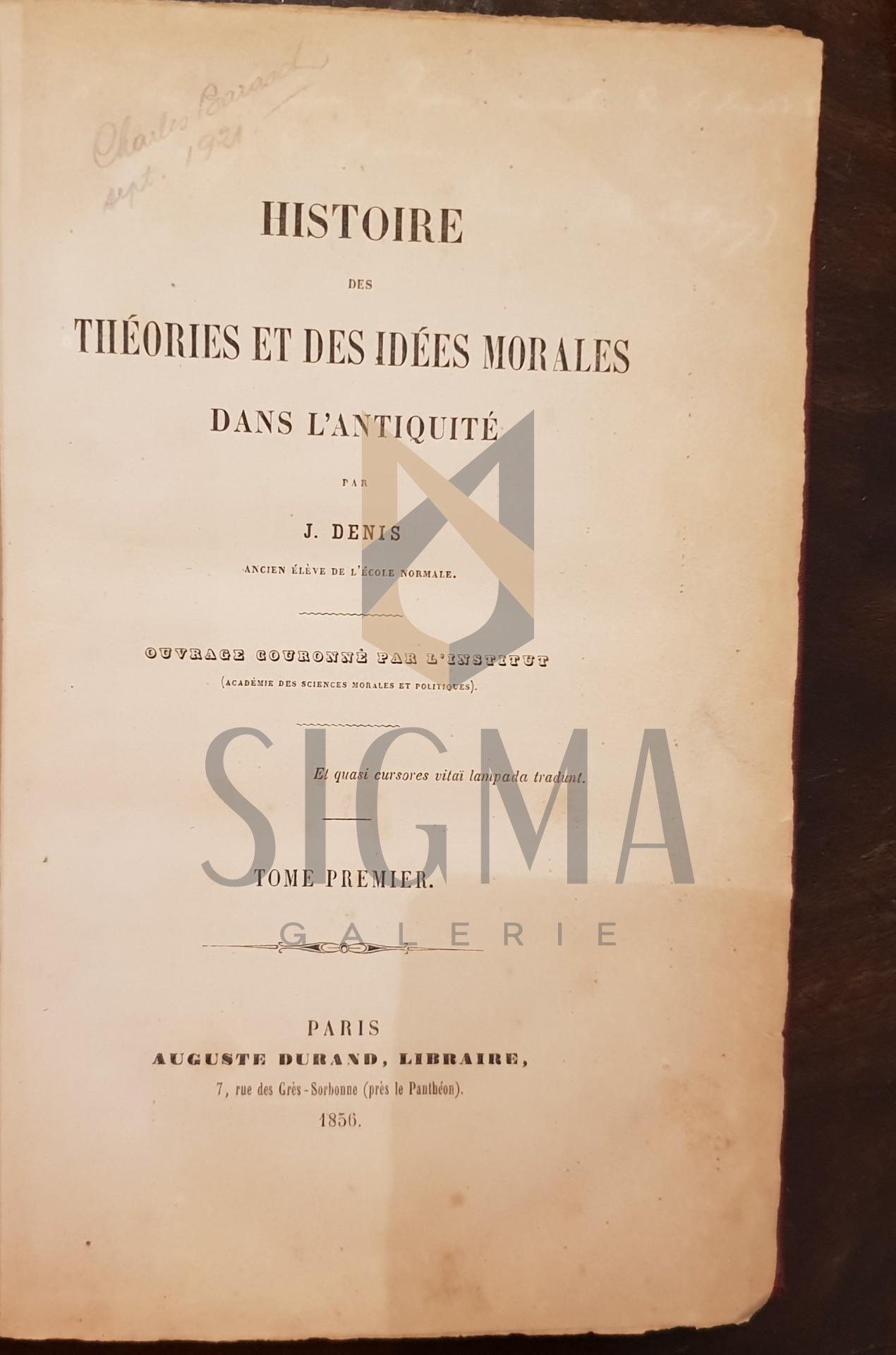 Histoire des theories et des idees morales dans l'antiquite Dedicatie!