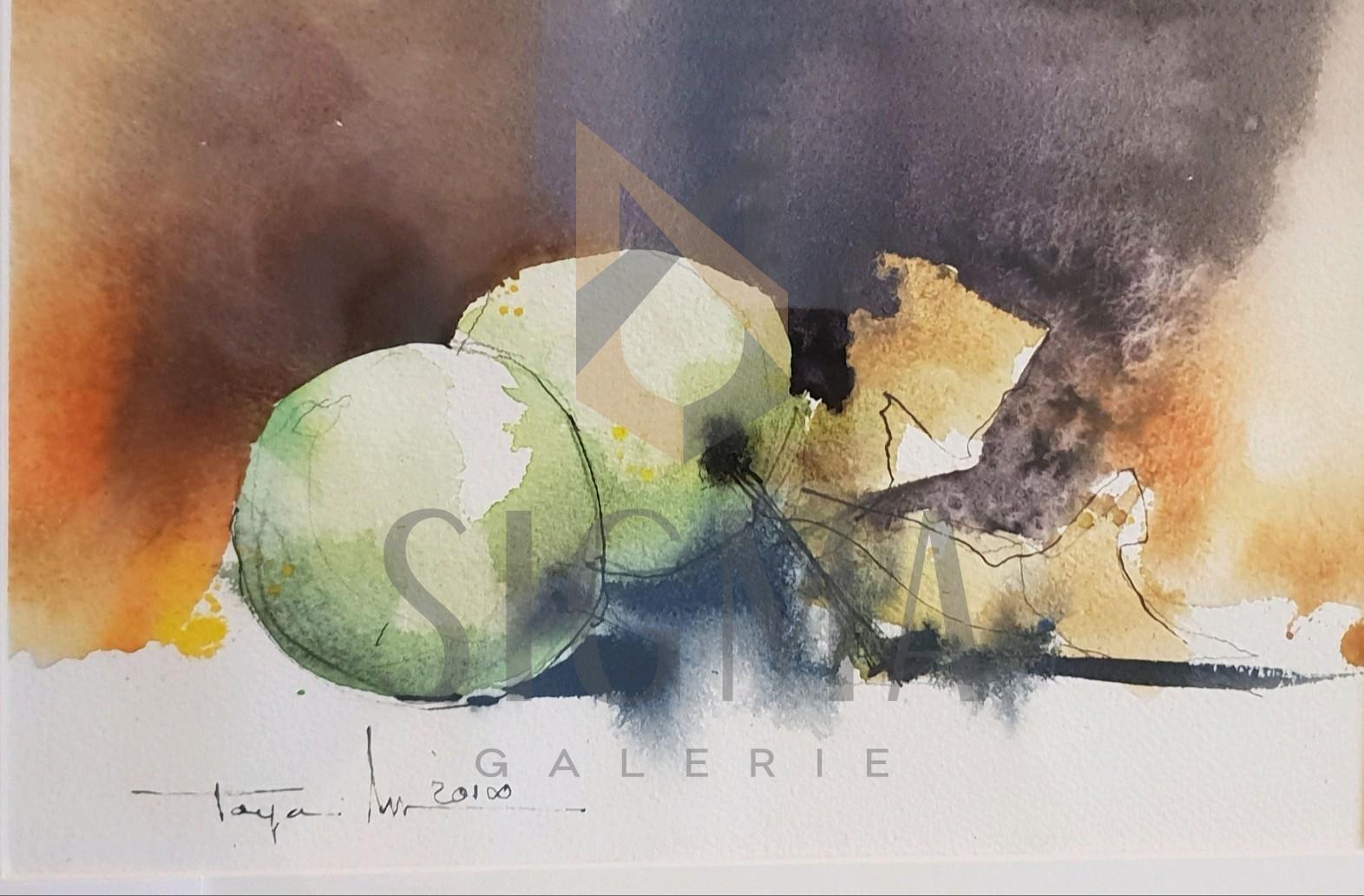 """Tablou, Autor: Mugur Popa, """" Natura statica cu mere verzi """", datat 2018,  acuarela si tus pe hartie canson,  Dim: 18 x 27 cm."""