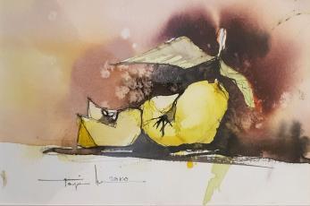 """Tablou, Autor: Mugur Popa, """" Natura statica cu mar """", datat 2018,  acuarela si tus pe hartie canson,  Dim: 18 x 27 cm."""