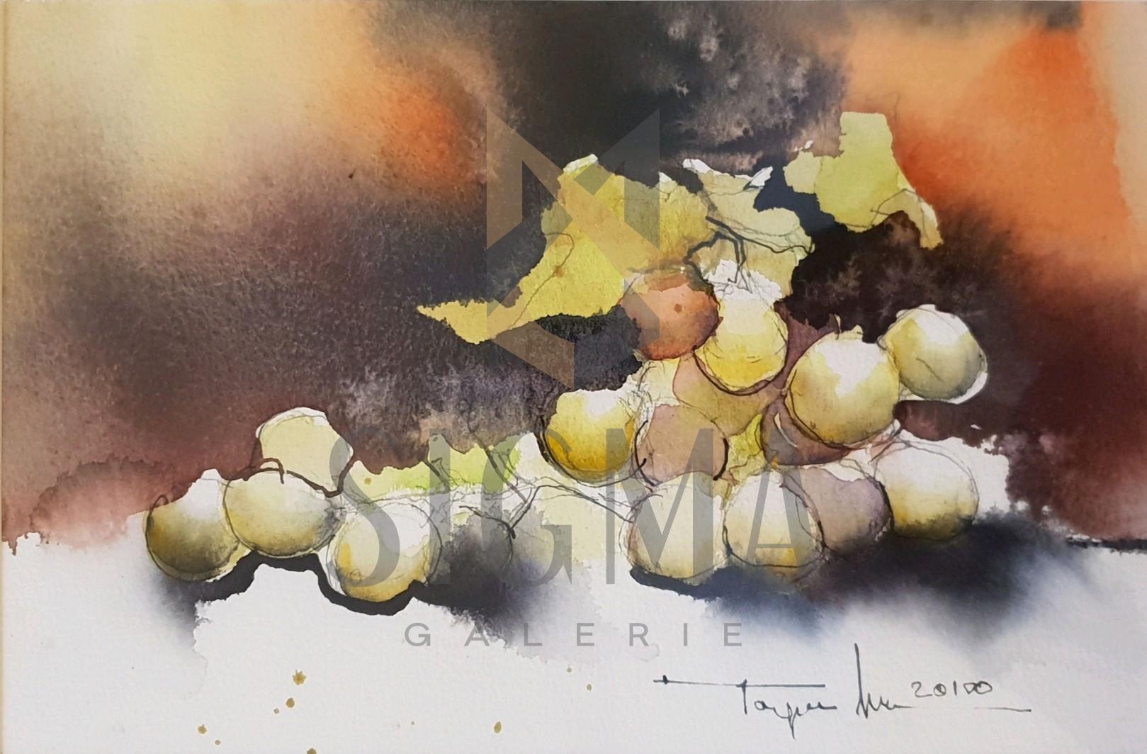 "Tablou, Autor: Mugur Popa, "" Natura statica cu struguri "", datat 2018,  acuarela si tus pe hartie canson,  Dim: 18 x 27 cm."