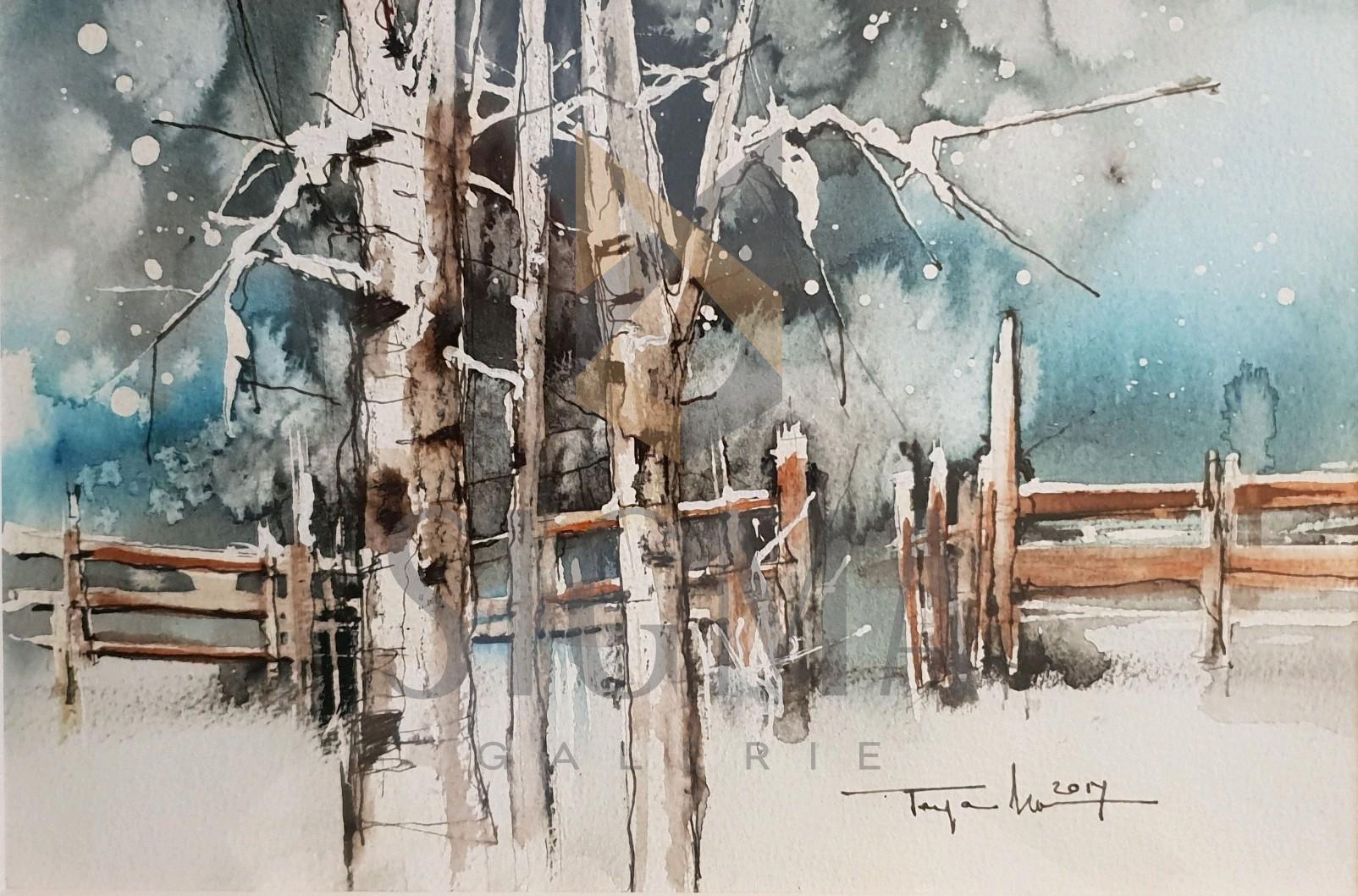 "Tablou, Autor: Mugur Popa, "" Peisaj de iarnai "", datat 2018,  acuarela si tus pe hartie canson,  Dim: 18 x 27 cm."