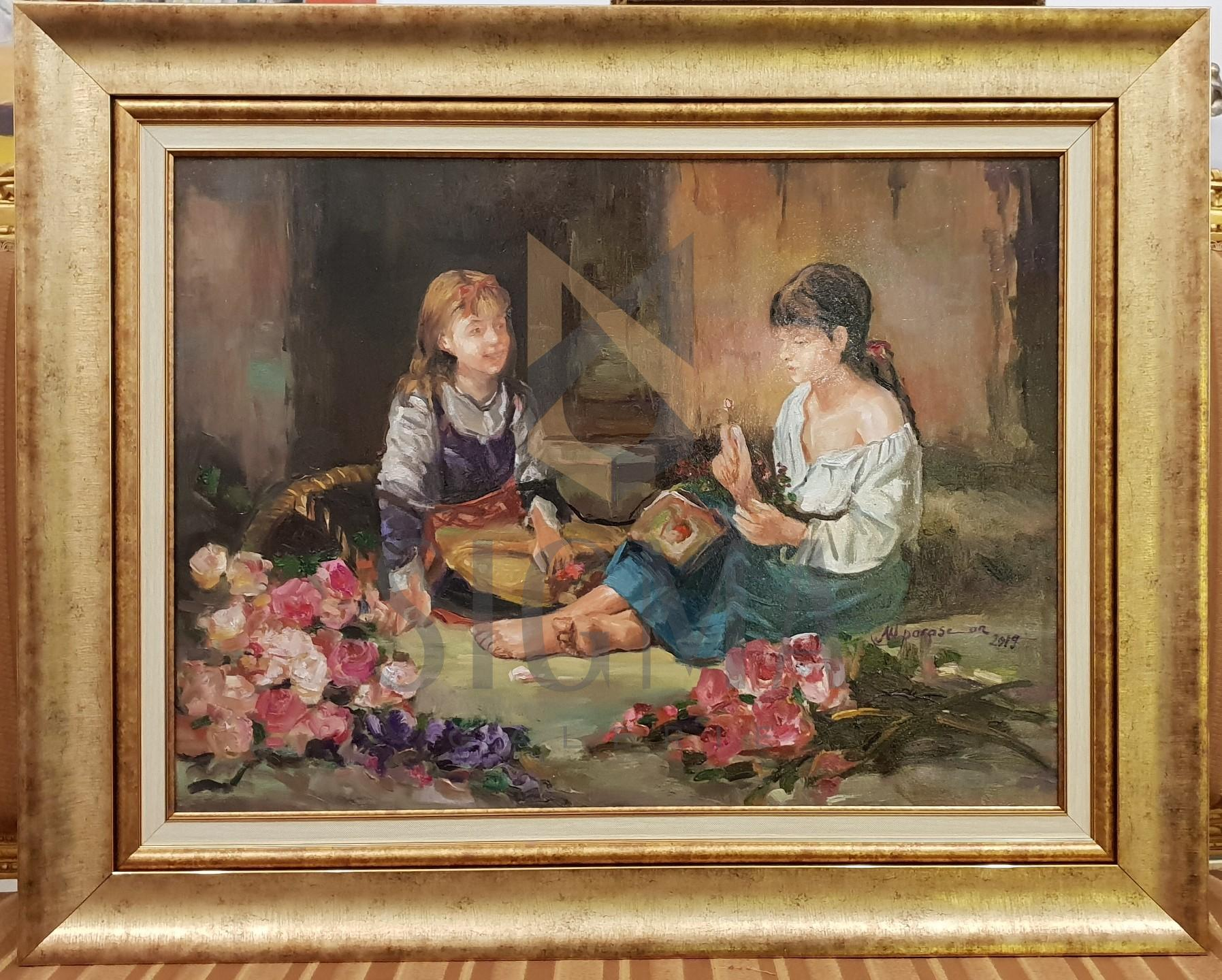 "Tablou, Maria Parascan, ""Fetitele cu cosul de flori"", datat 2019, dim 52 x 70 cm"