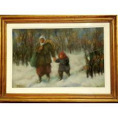 Tablou, Autor: B'Arg (Ion Barbulescu), IARNA, pastel pe carton, dim: 32 x 48 cm