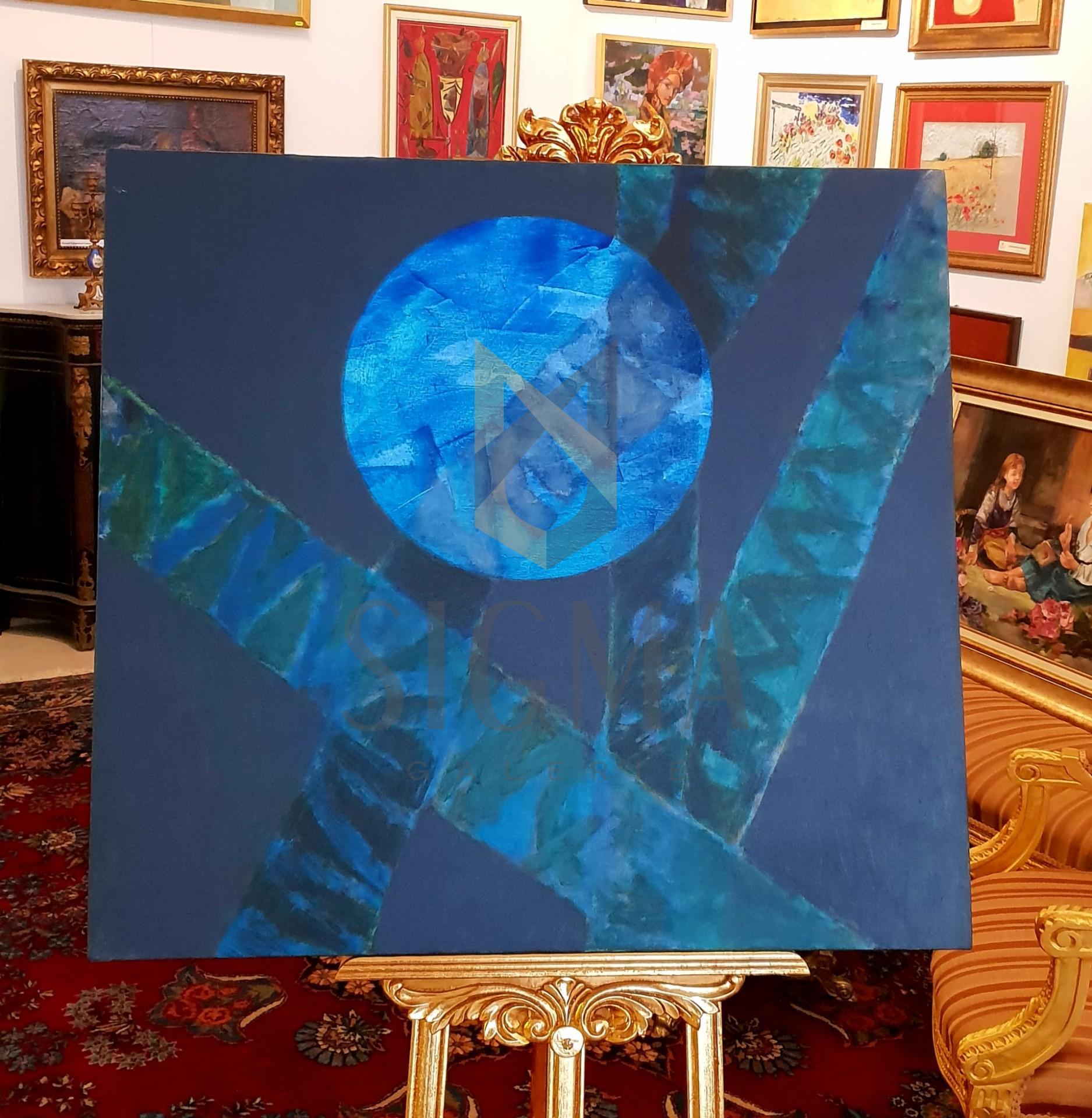 "Tablou, "" Planeta albastra "" autor: Liviu David, ulei pe panza, dim: 84 x 90 cm"