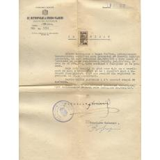 DOCUMENT - CERTIFICAT ARHIEPISCOPIA BUCURESTILOR / HIROTONIRE , PAROHIA PREDEAL SARARI, 1947