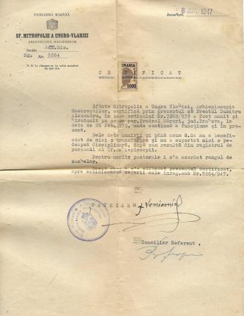 DOCUMENT - CERTIFICAT ARHIEPISCOPIA BUCURESTILOR / HIROTONIRE , PAROHIA PREDEAL SARARI, 1947