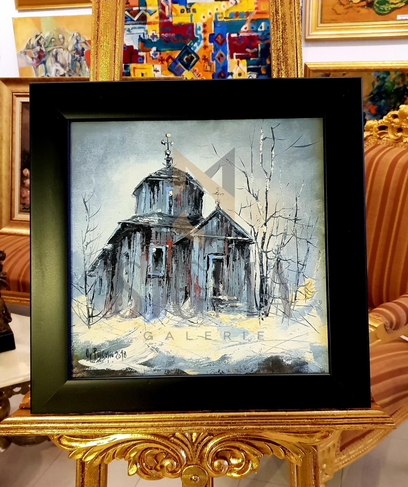 """Tablou, """"Biserica magazie"""", Autor: Ovidiu Puscasiu, ulei pe panza, 33 x 33 cm"""
