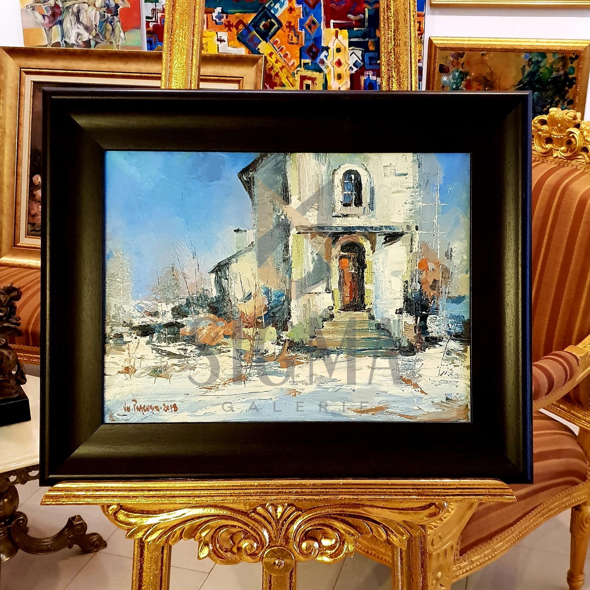 "Tablou, ""Intrarea in biserica"", Autor: Ovidiu Puscasiu, Ulei pe panza, 30 x 40 cm"