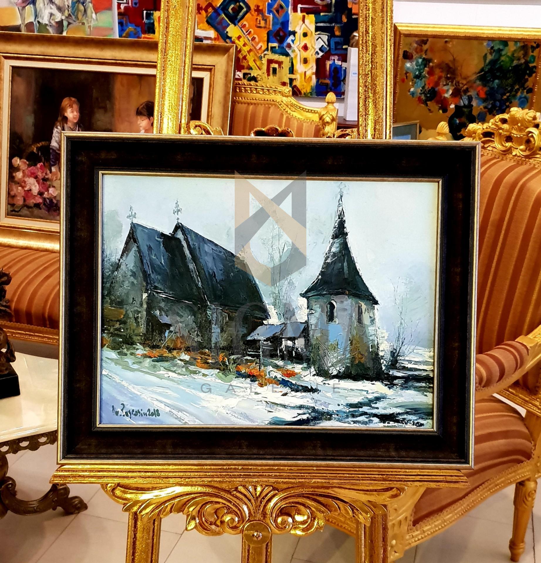 """Tablou, Ovidiu Puscasiu, """" Biserica Ardeal """"  u/p ,  Dim. : 30 x 40 cm"""