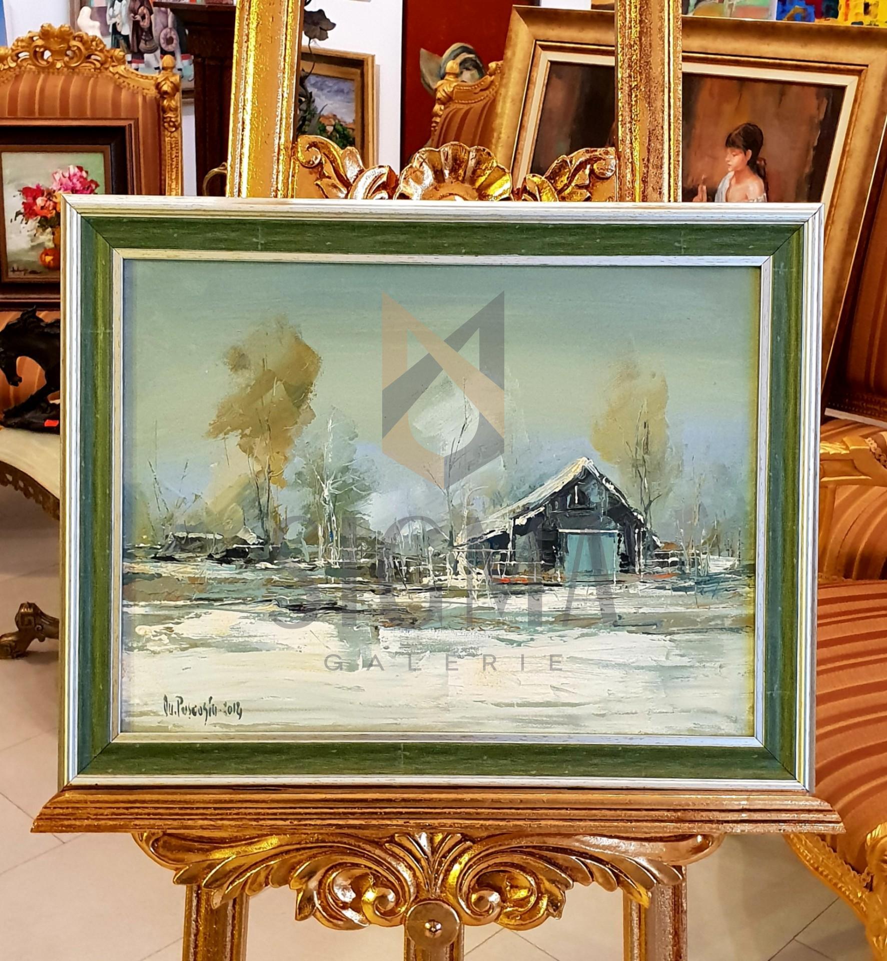 Tablou,  Ovidiu Puscasiu, Peisaj de iarna, u/p , Dim. : 30 x 40 cm