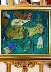 """Tablou, Autor: Stefan Pelmus  Titlul: """"Pestele"""",    Tehnica: ulei pe carton,   Dimensiuni: 33 x 36 cm, 41 x 45 cm cu rama, datat 2001"""