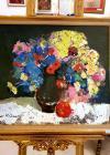 """Tablou, GHORGHE LUNGU """" Natura statica cu flori"""", Ulei pe carton,  Dimensiuni: 47 x 54cm, 56 x 63 cm cu rama"""
