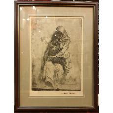 """TABLOU, NICOLAE VERMONT, """" MATERNITATE, acvaforte, 37 cm x 25 cm"""