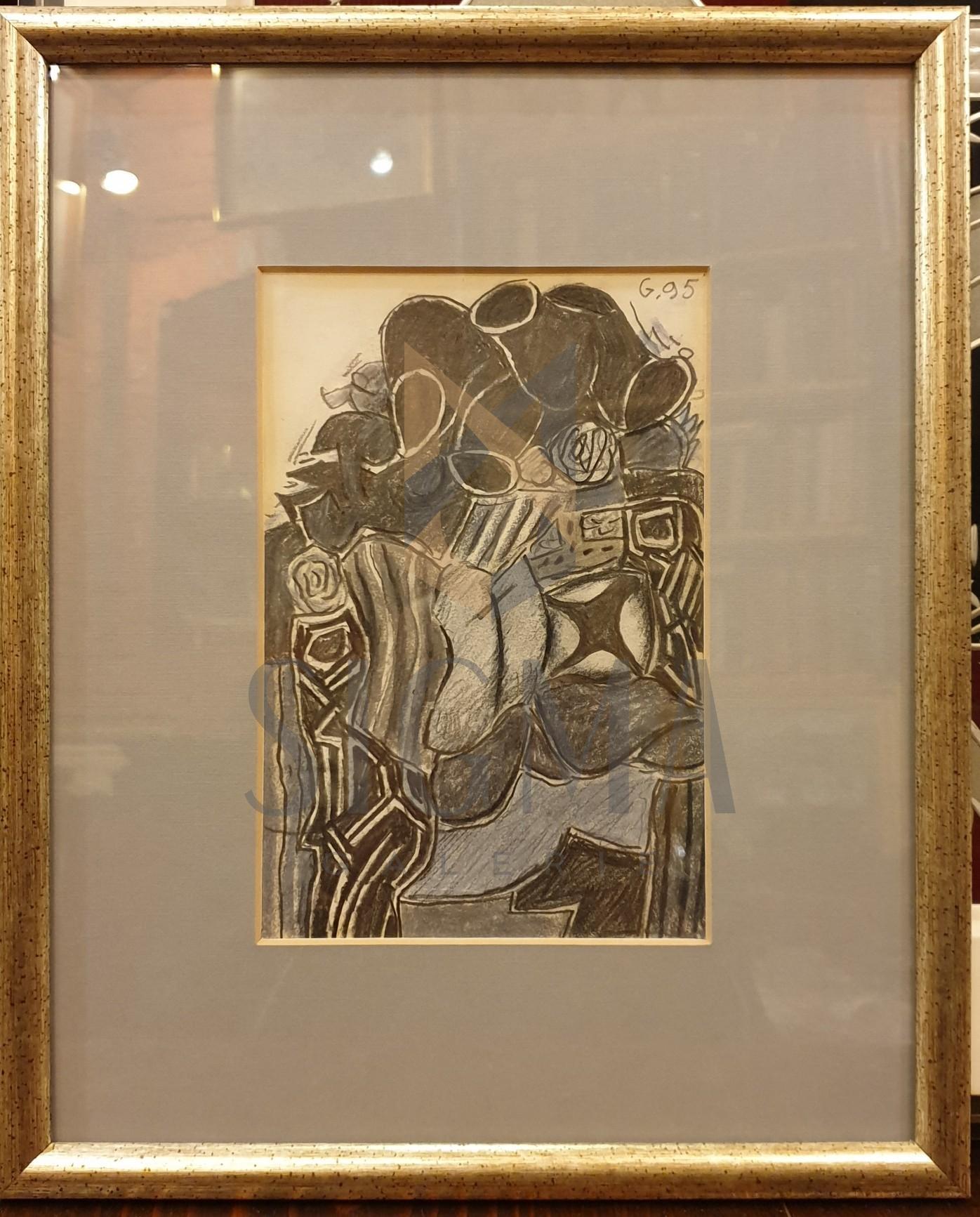 "TABLOU, ION ALIN GHEORGHIU, ""CITADINA SUSPENDATA"" , tehnica mixta, 1995"